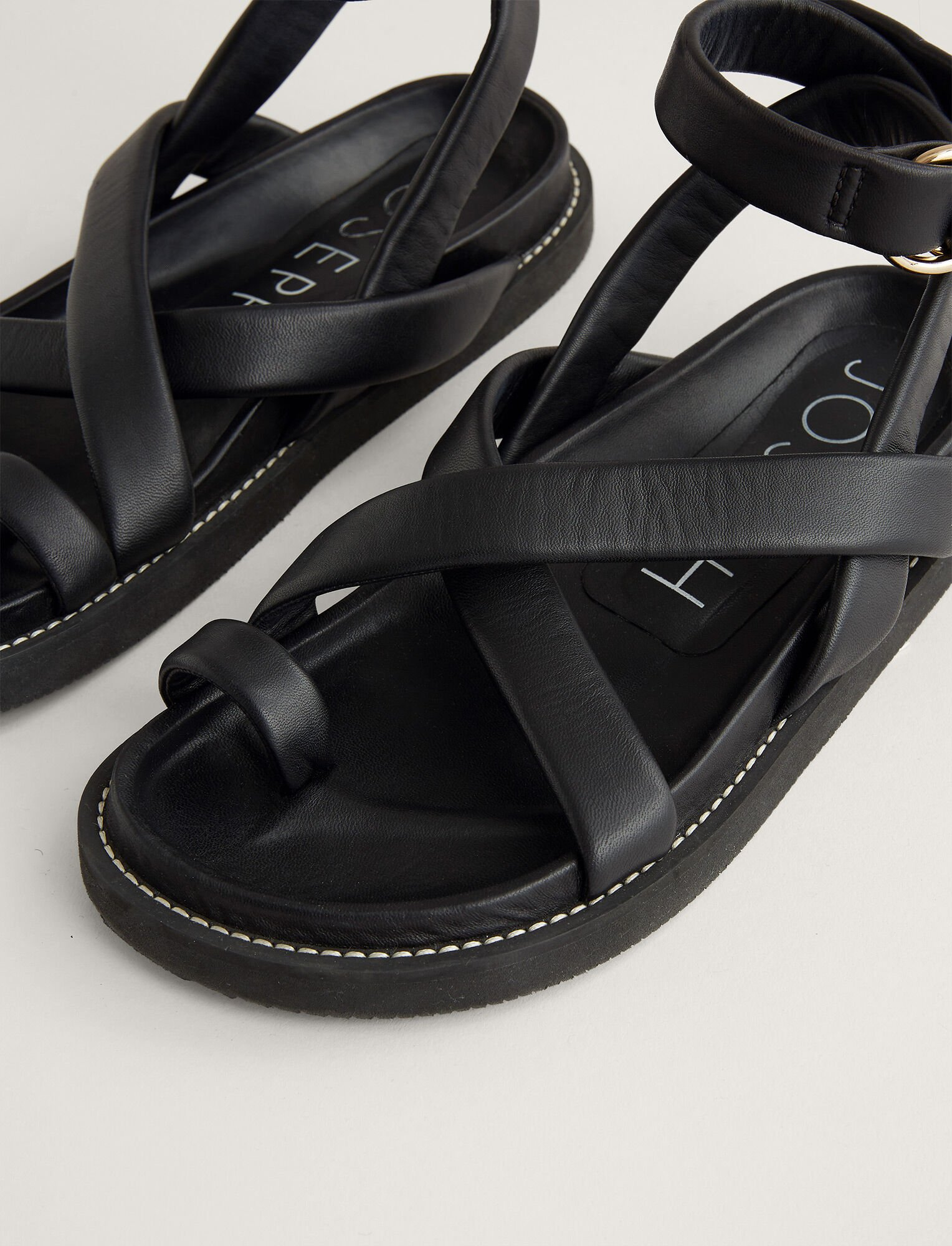 Joseph, Leather Jazal Sandal, in BLACK