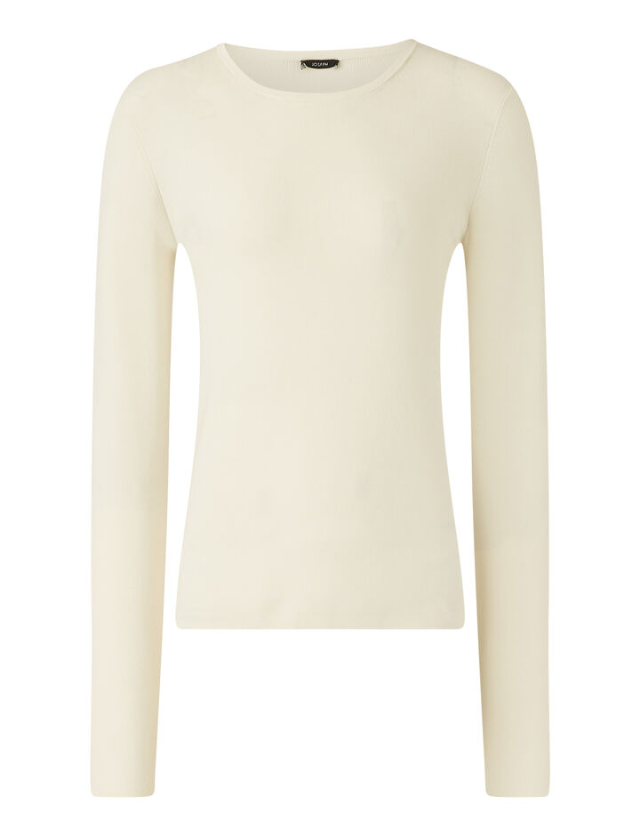 Joseph, Rd Nk Ls Silk Stretch Knitwear, in Ivory