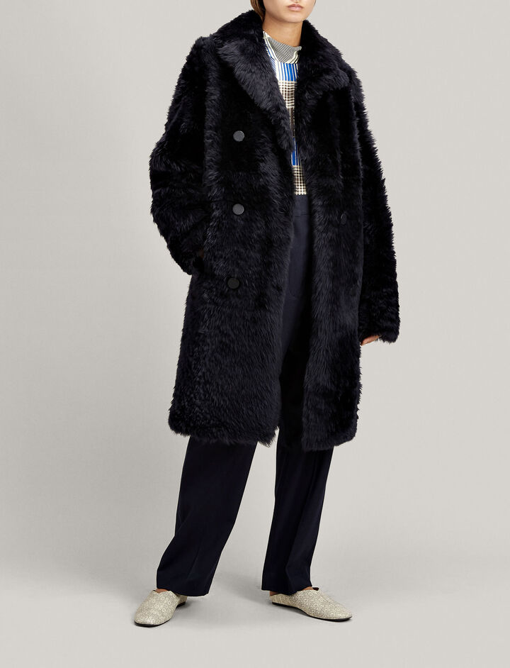 Joseph, New Hector Long Teddy Merinos Coat, in NAVY
