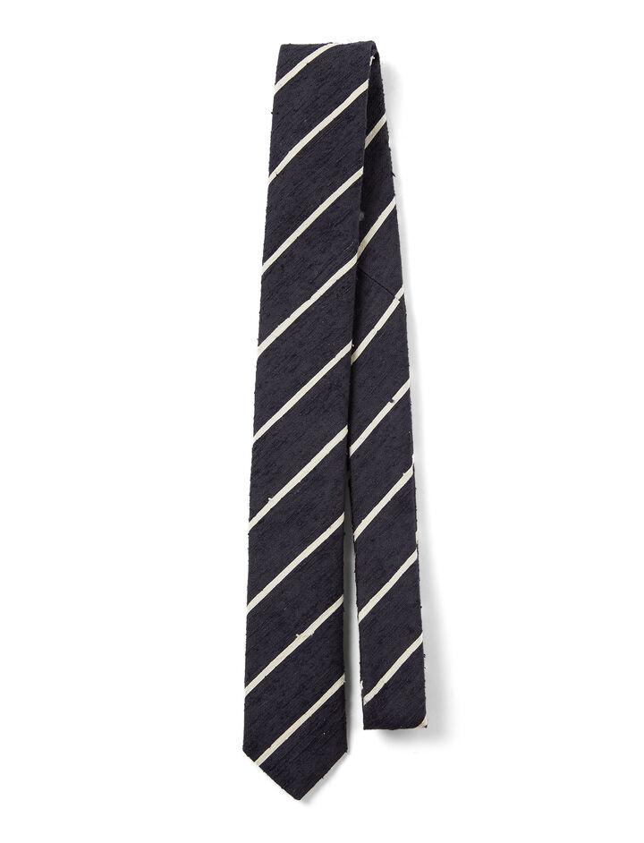 Joseph, Silk Stripes Tie, in NAVY/ECRU
