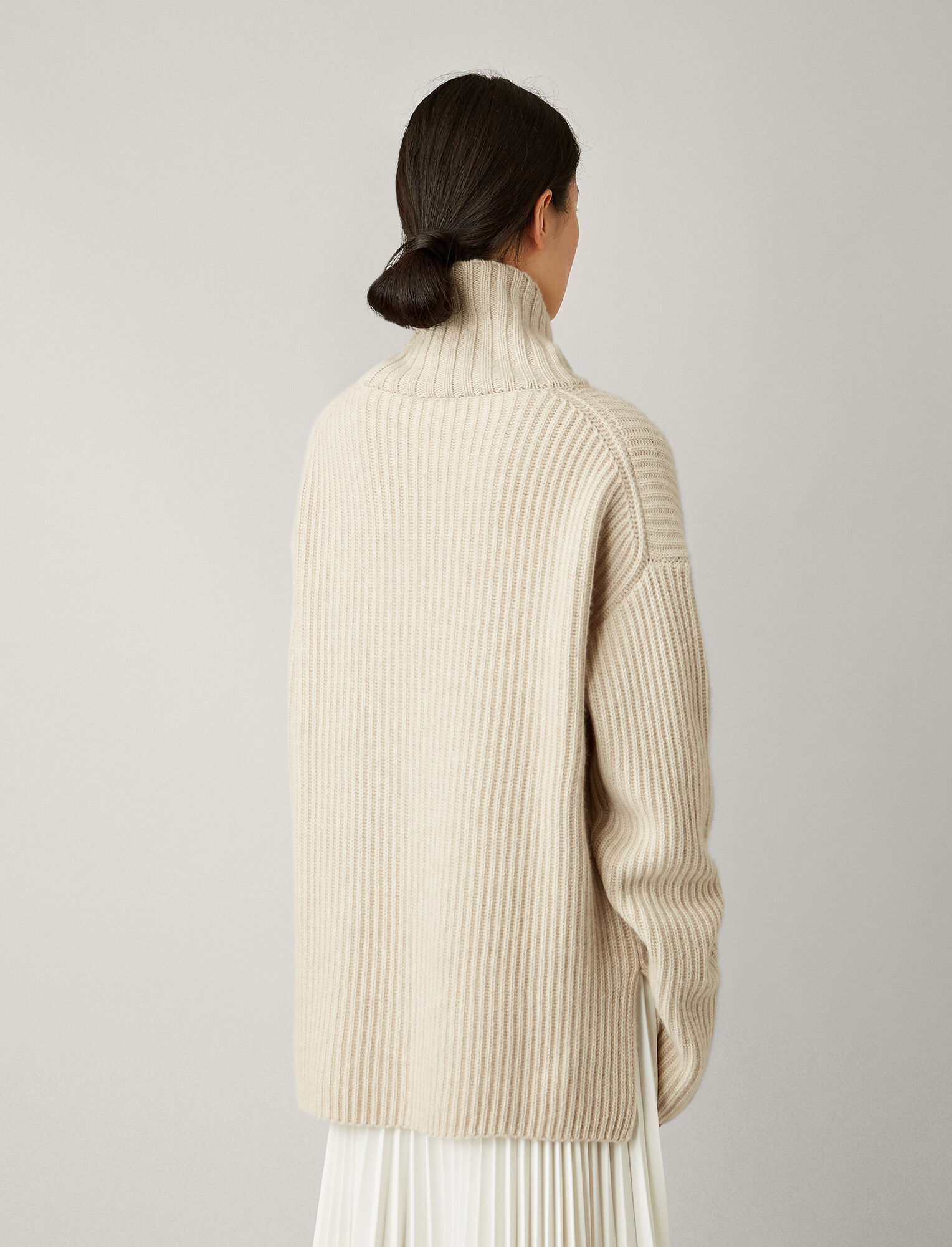Joseph, High Neck Cashmere Luxe Knit, in MASTIC