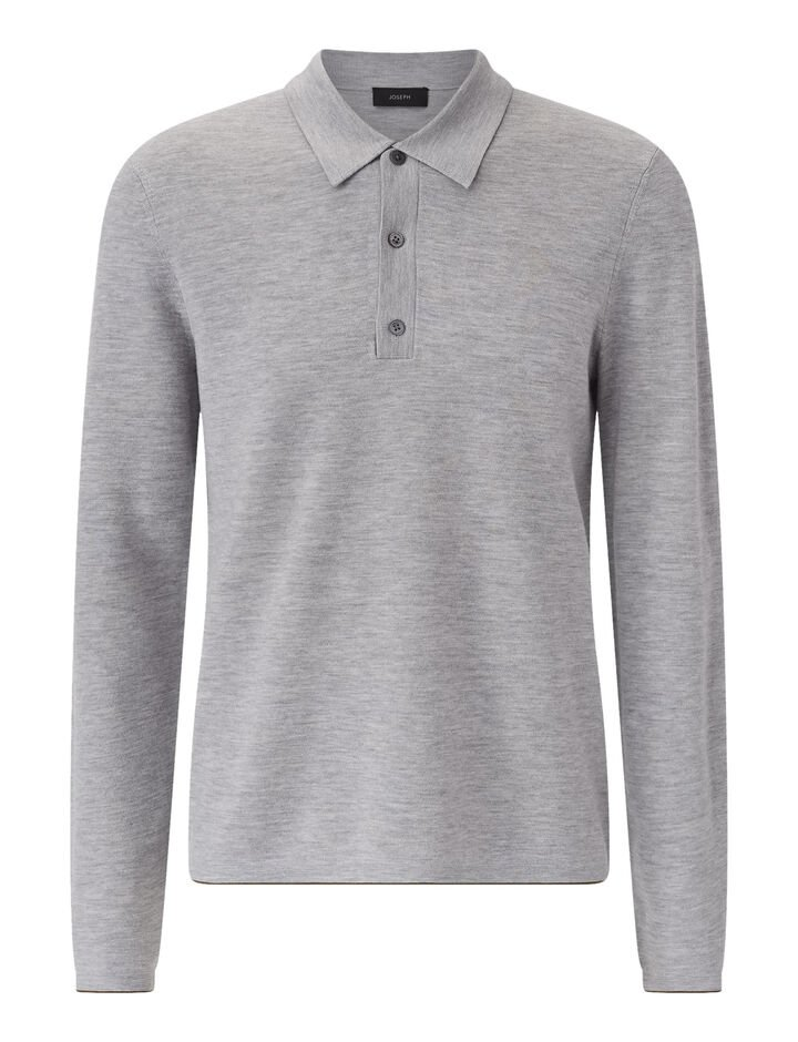 Joseph, Polo Nk Ls-Fine Milano, in GREY CHINE
