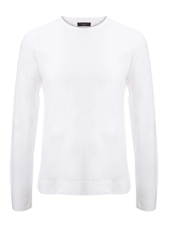 Joseph, Mercerized Jersey Top, in WHITE