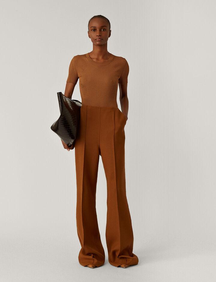 Joseph, Talou Stretch Double Face Trousers, in Cognac