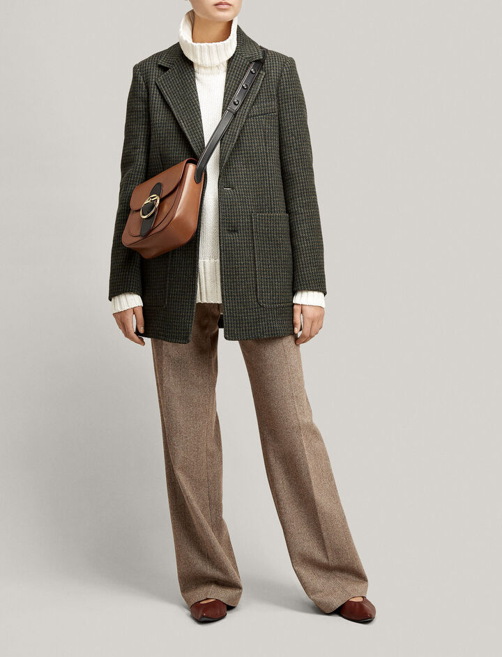 Joseph, Marko Cropped Houndstooth Coat, in MILITARY