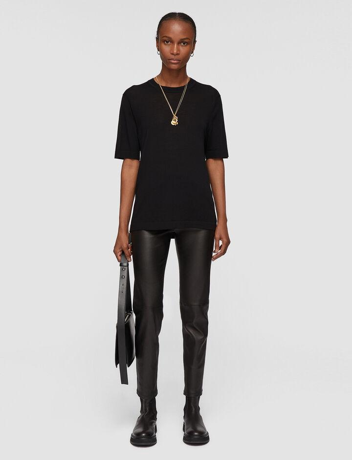 Joseph, Ss Tee Cashair Knitwear, in Black