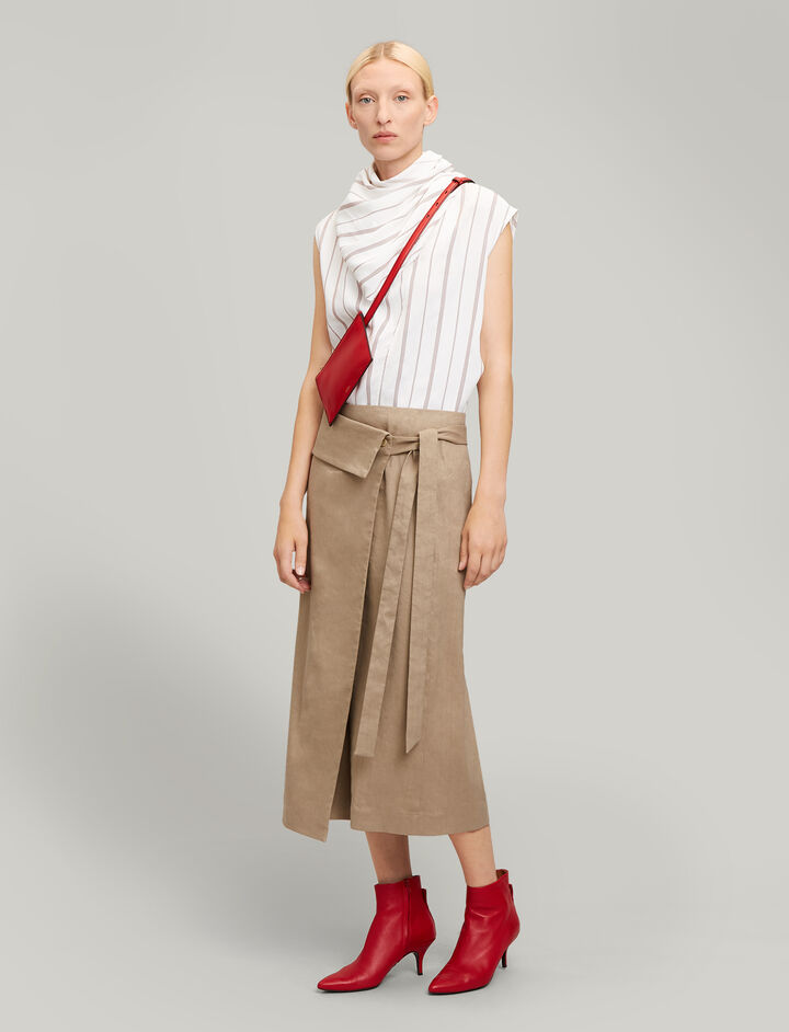 Joseph, Finch Linen Stretch Skirt, in BEIGE