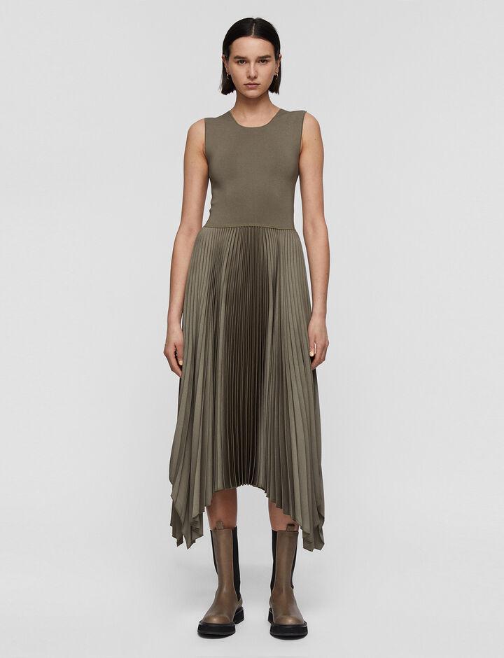 Joseph, Knit Weave Plissé Dera Dress, in ELM
