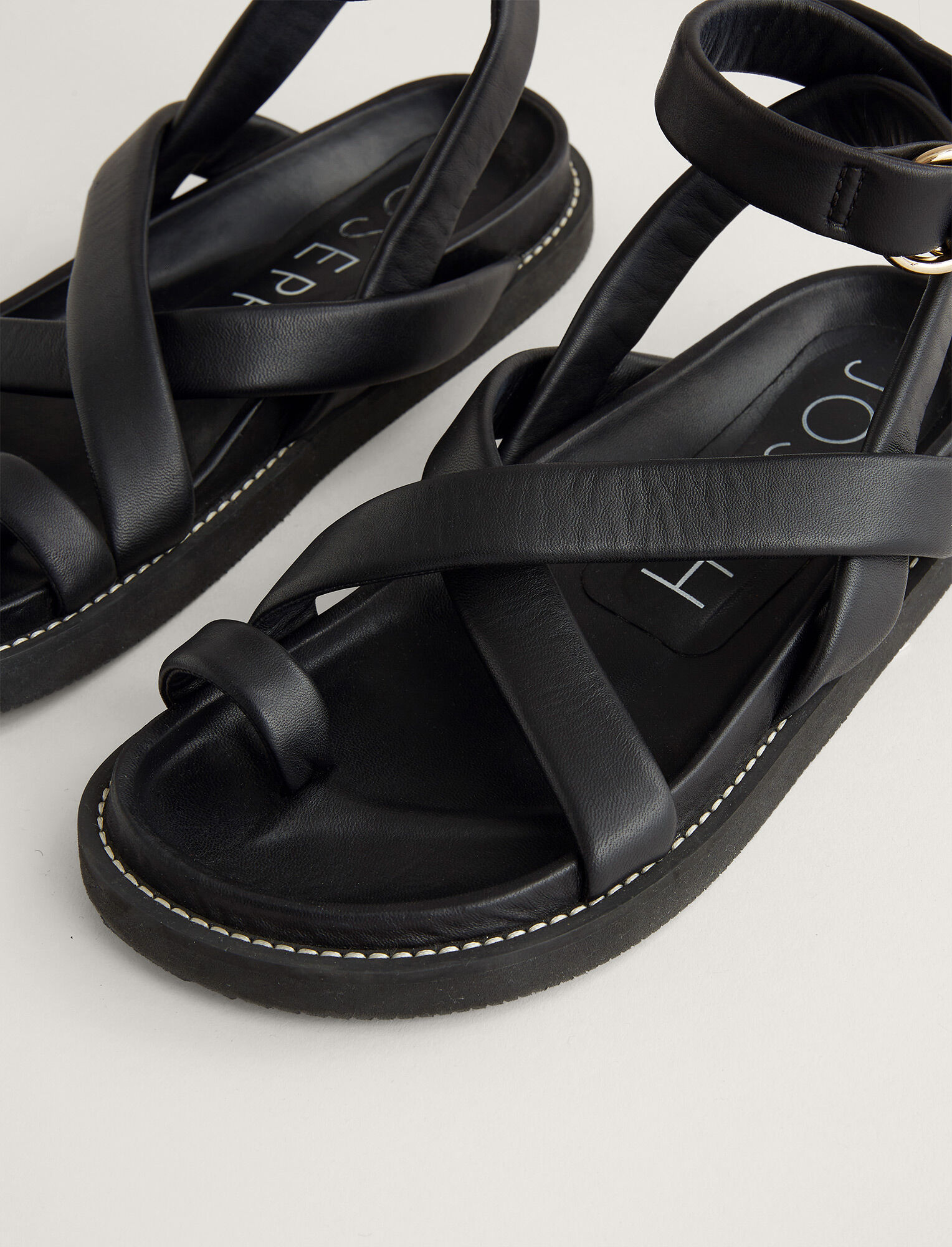 Joseph, Jazal Leather Sandal, in BLACK
