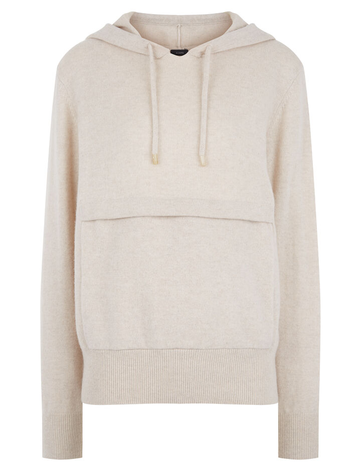 Joseph, Mongolian Cashmere Hoodie, in BEIGE CHINE