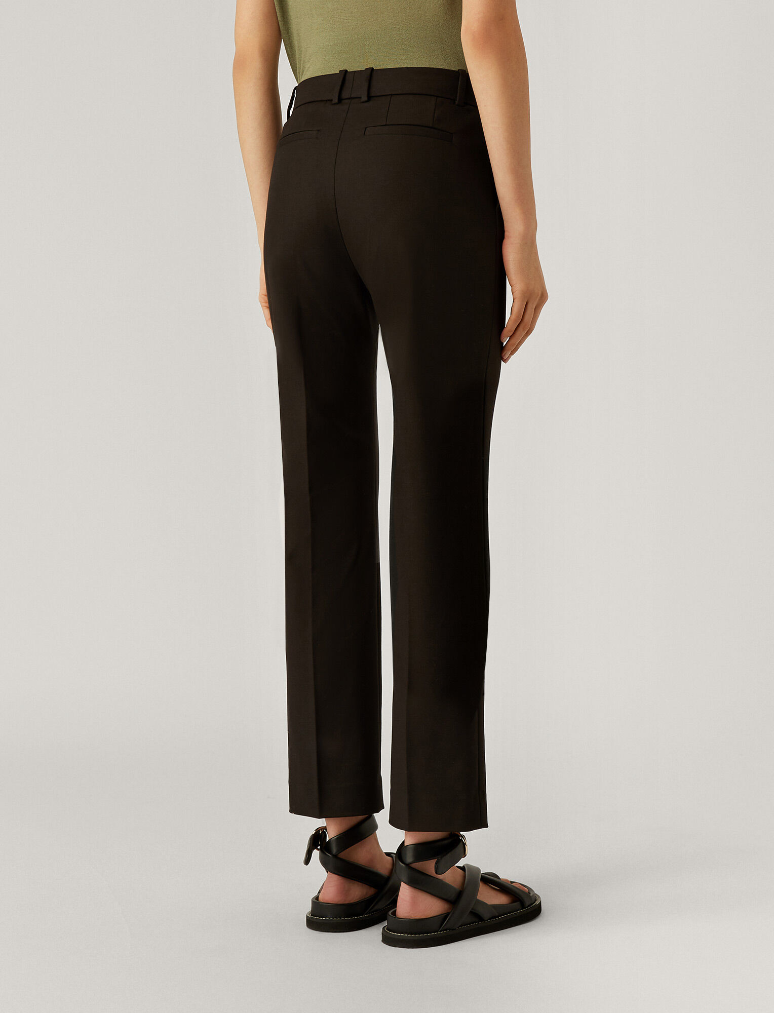 Joseph, Pantalon Coleman en double coton stretch, in BLACK