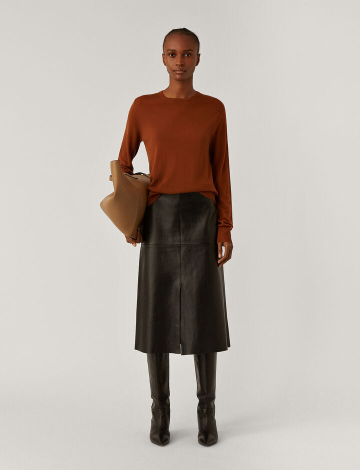 Joseph, Rd Nk Ls Fine Merinos Knitwear, in Brick