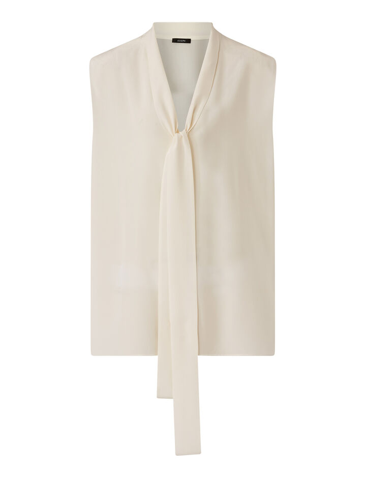 Joseph, New Crepe de Chine Batin Top, in IVORY