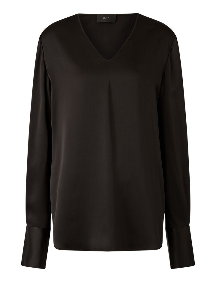 Joseph, Belgy Silk Satin Blouses, in Black
