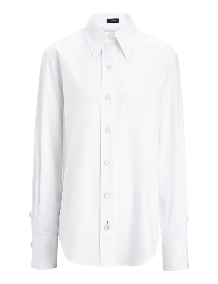 Joseph, Cotton Poplin New Garcon Shirt, in WHITE