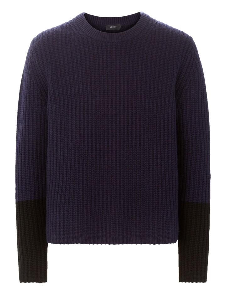 Joseph, Soft Wool Knit Sweater, in NAVY/BLACK