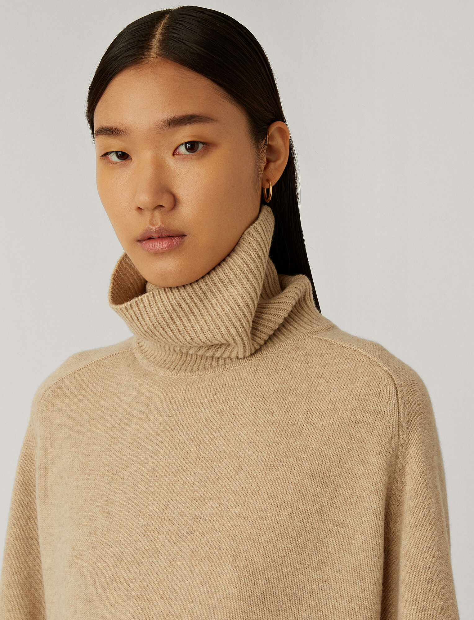 Joseph, Roll Neck O'Size Knit, in Linen