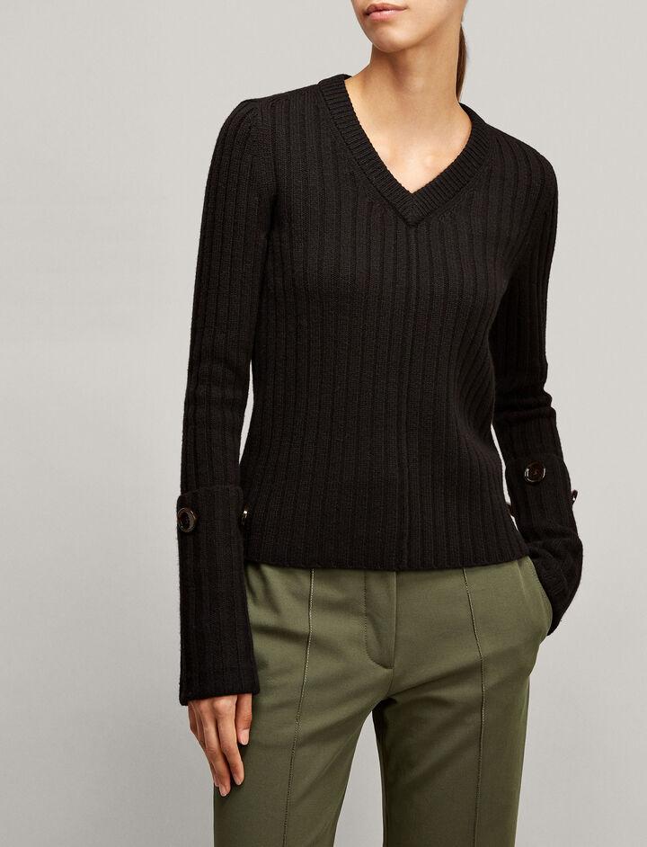 Joseph, V Neck Soft Wool Knit, in BLACK