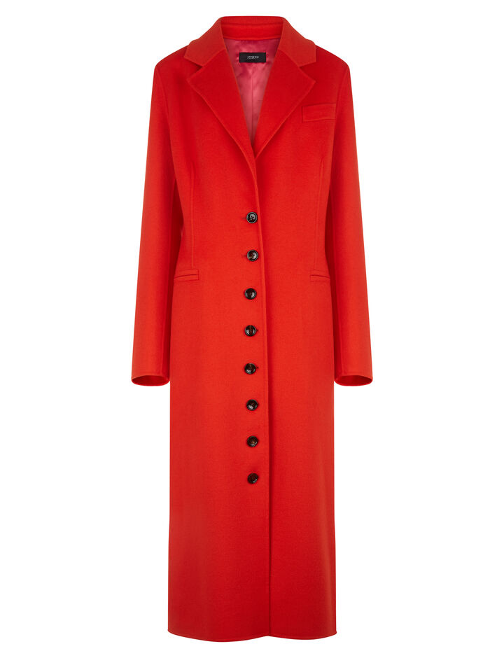 Joseph, New Marline Feather Double Cashmere Coat, in TOMATO