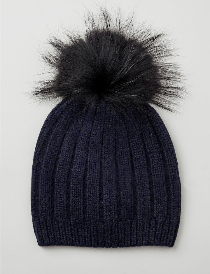 Joseph, Cashmere Luxe Pompon Hat, in NAVY