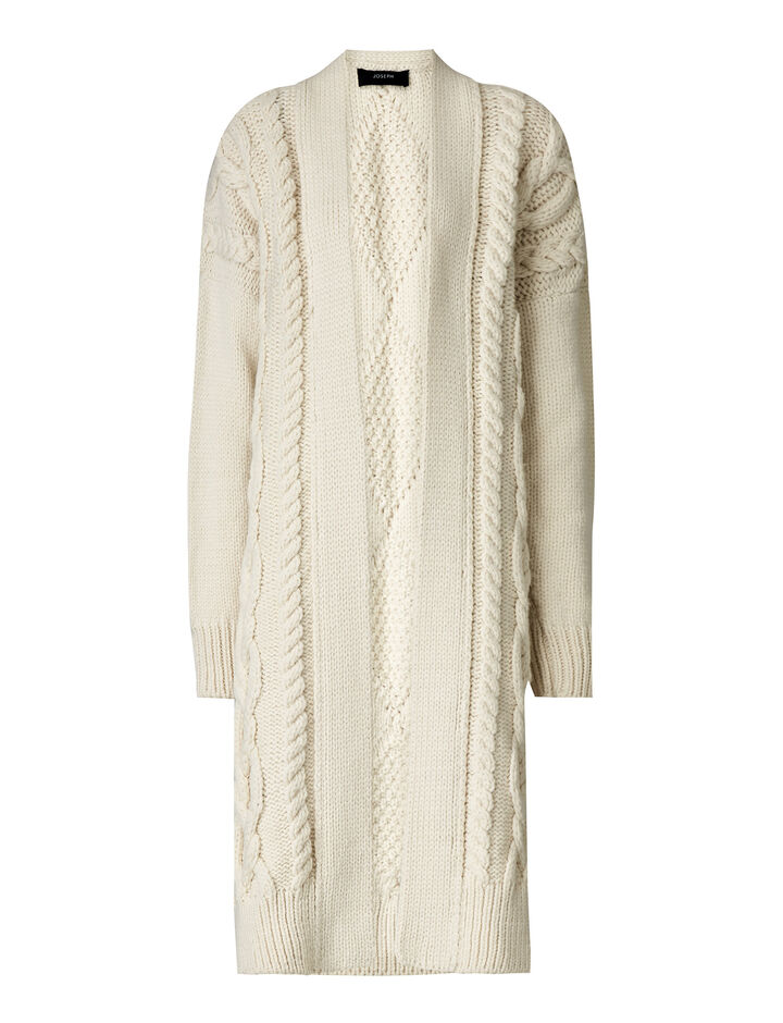 Joseph, Cardigan Cable Mix Knit, in IVORY