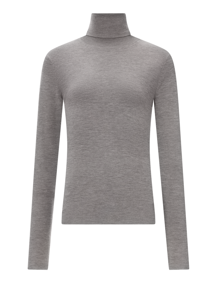 Joseph, Roll Neck Silk Stretch Knit, in GREY CHINE