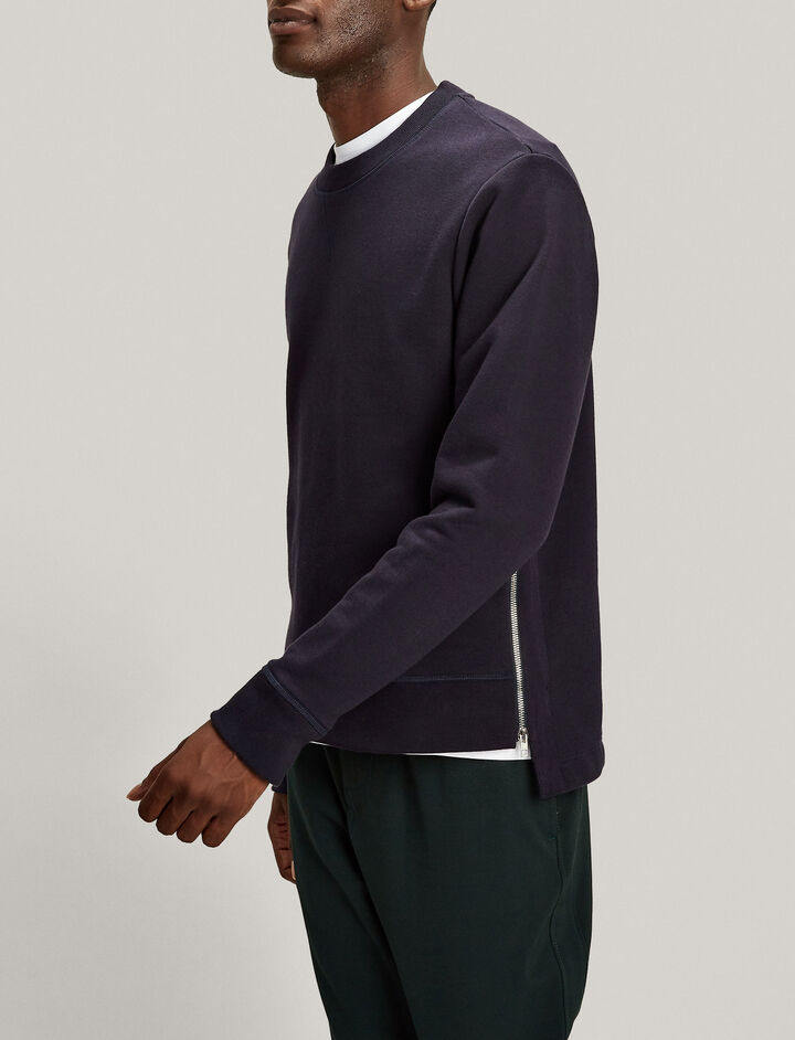 Joseph, Zip Jersey Sweatshirt, in NAVY