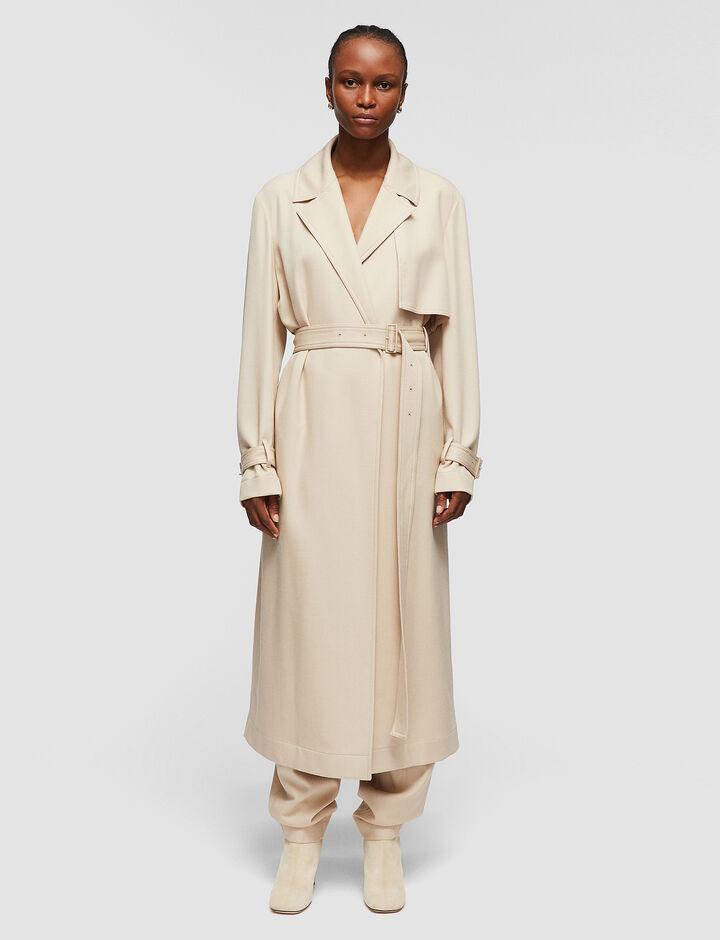 Joseph, Fluid Wool Twill Cadance Coat, in SEEDPEARL