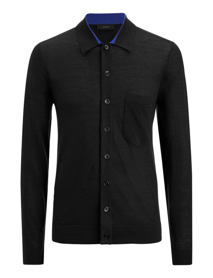 Joseph, Shirt Light Merinos Knit, in BLACK