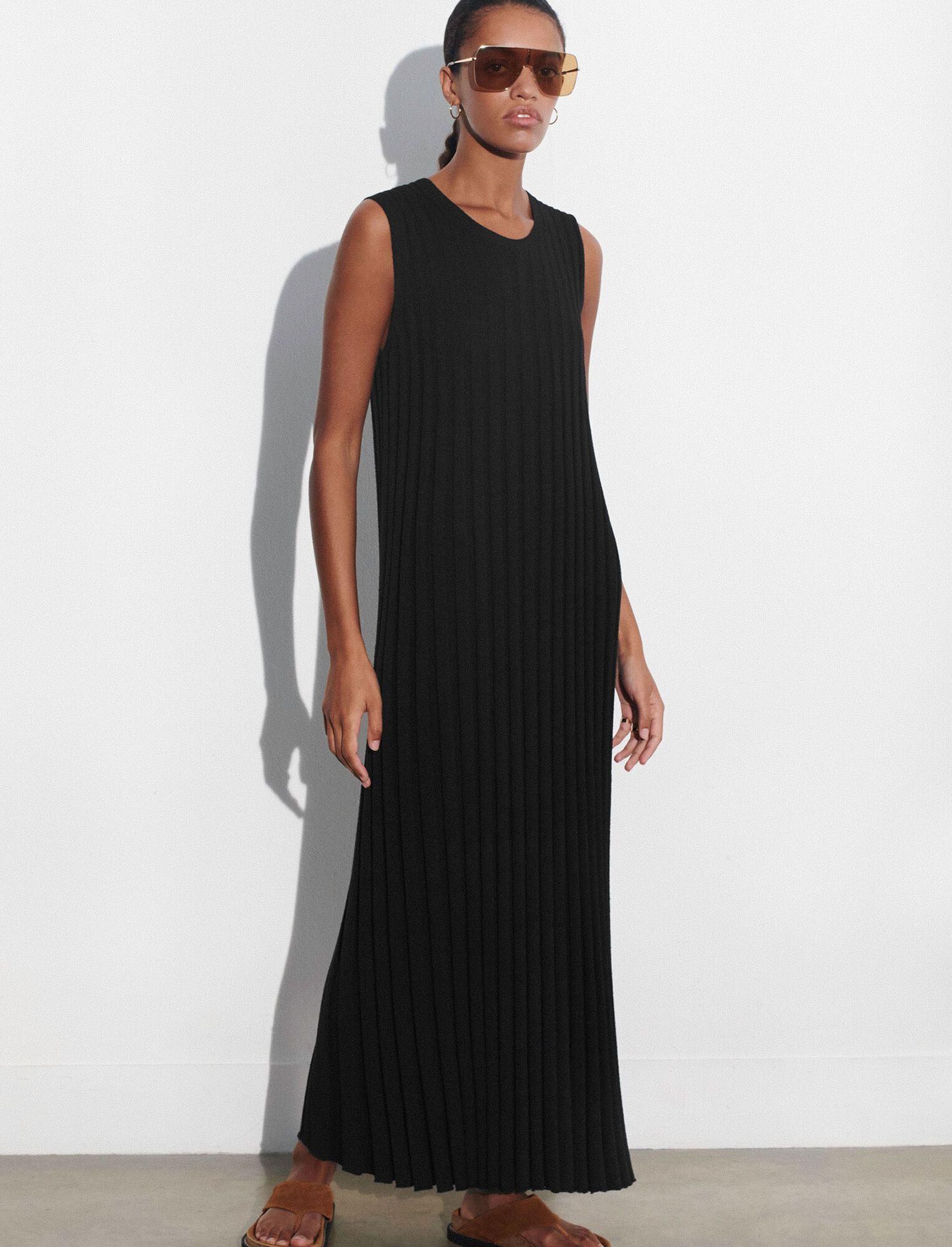 Joseph, Textured Rib Dress, in BLACK