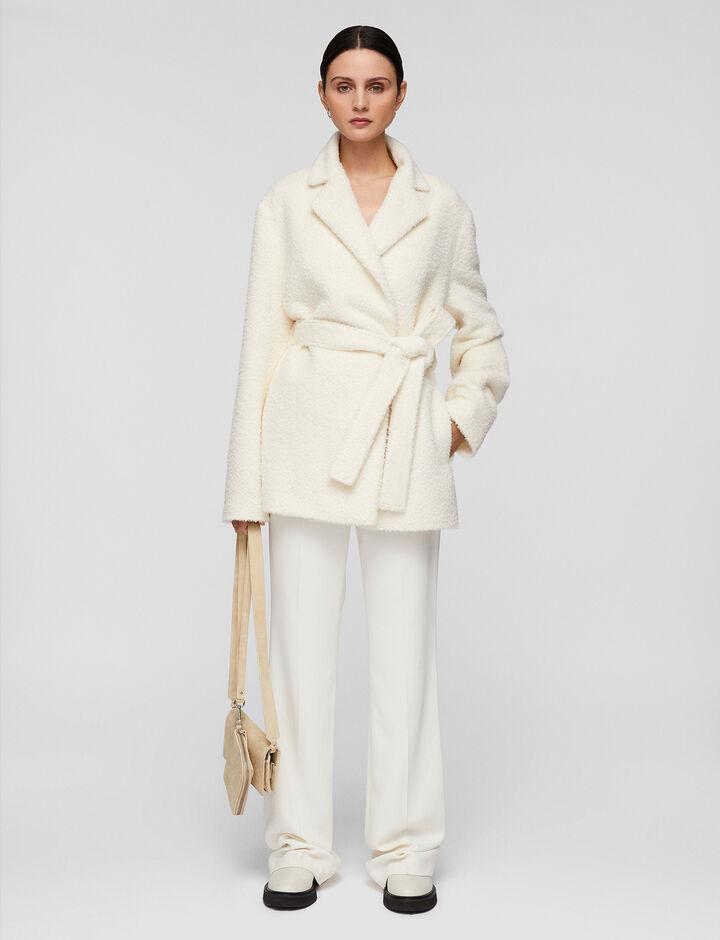 Joseph, Textured Wool Alpaca Cenda Coats, in Ecru