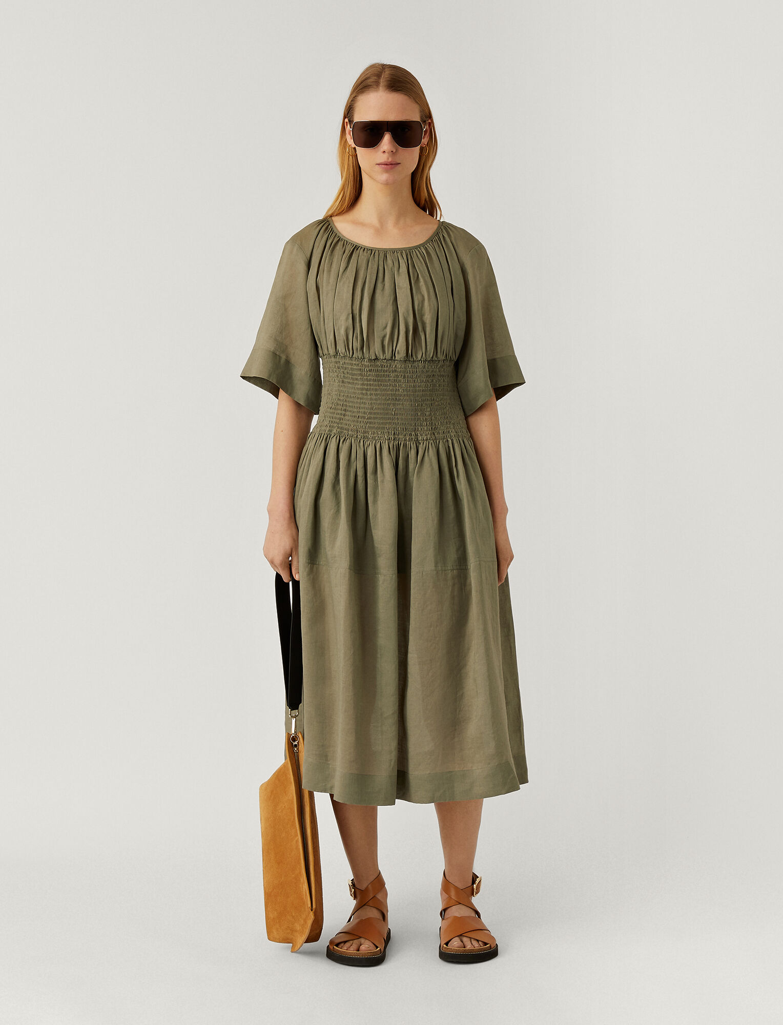 Joseph, Ramie Voile Daison Dress, in ARGIL