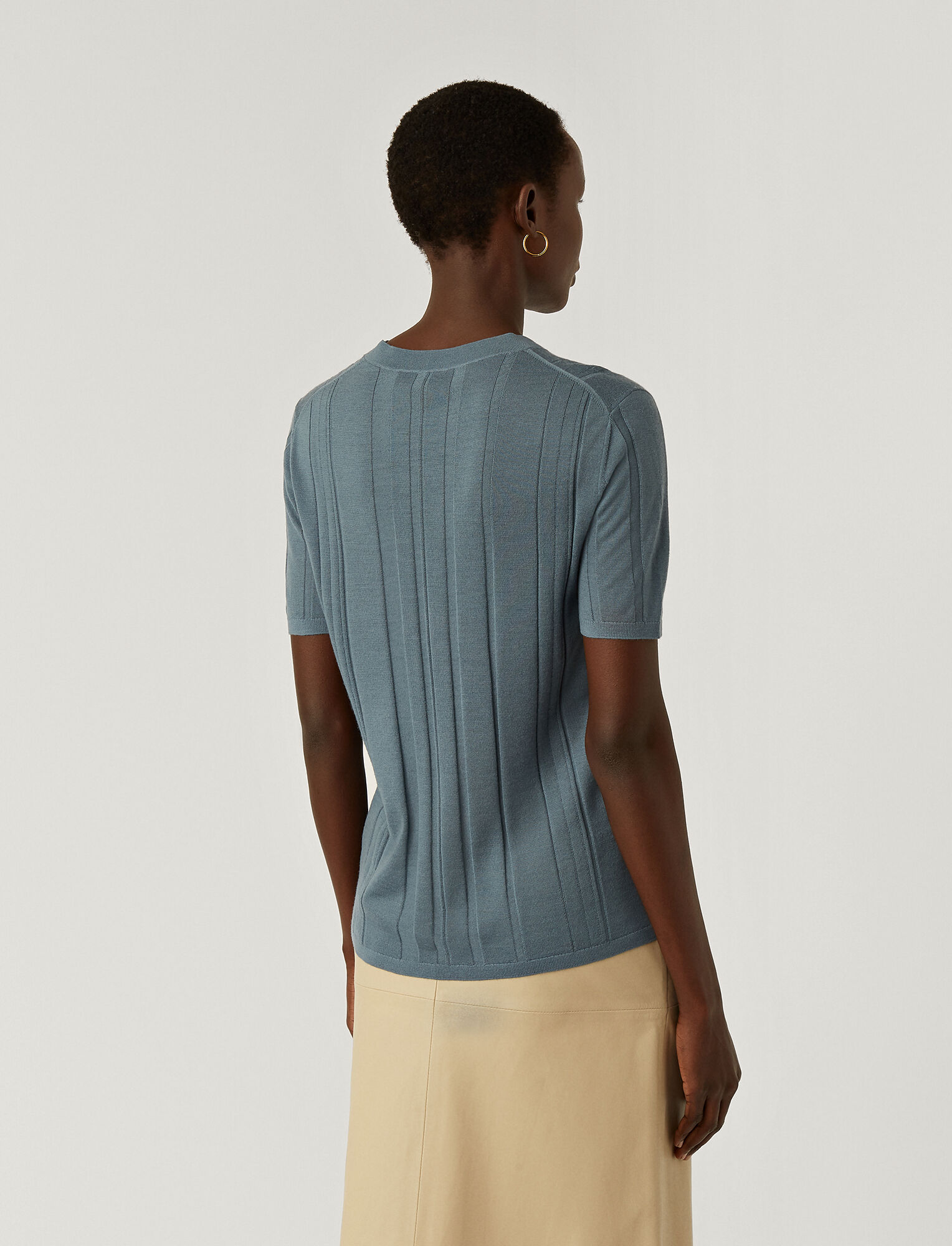 Joseph, Fine Merinos Short Sleeved Top, in BLUE STEEL