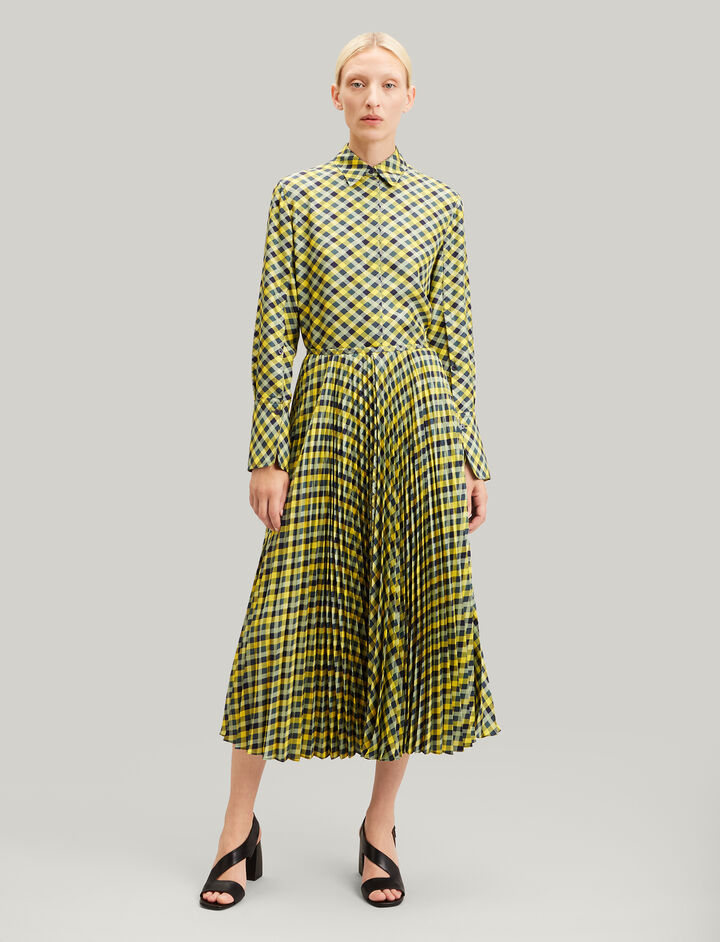 Joseph, Abbot Diamond Weave Print Skirt, in YELLOW