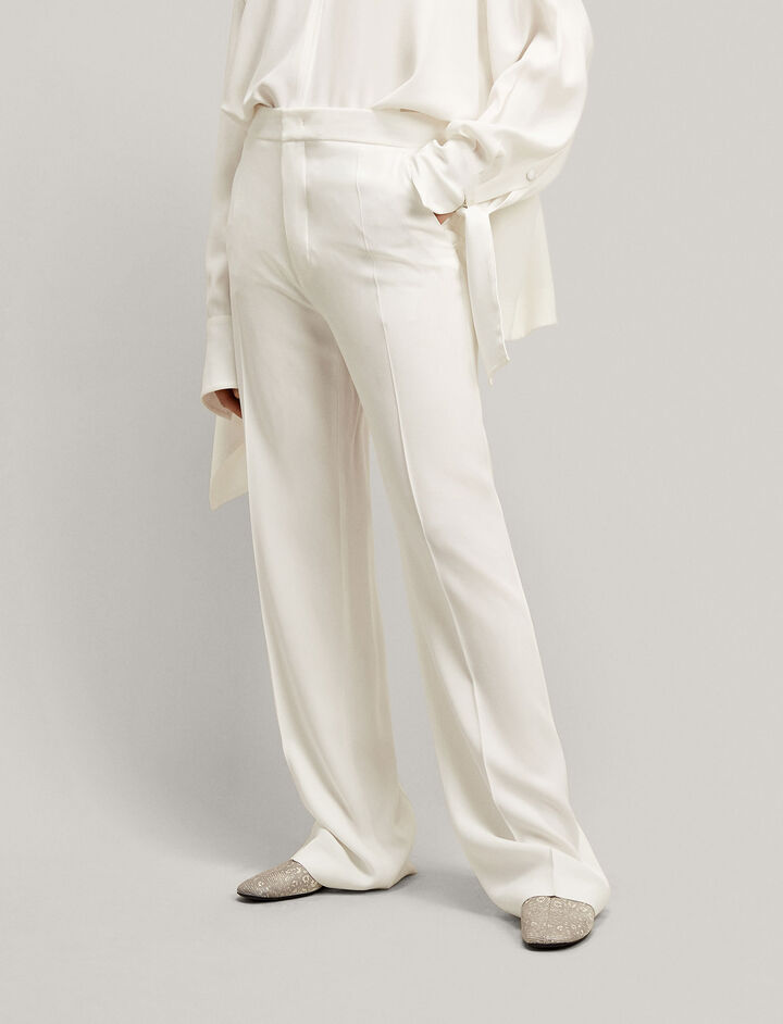Joseph, New Ferdy Crepe Satin Trousers, in WHITE
