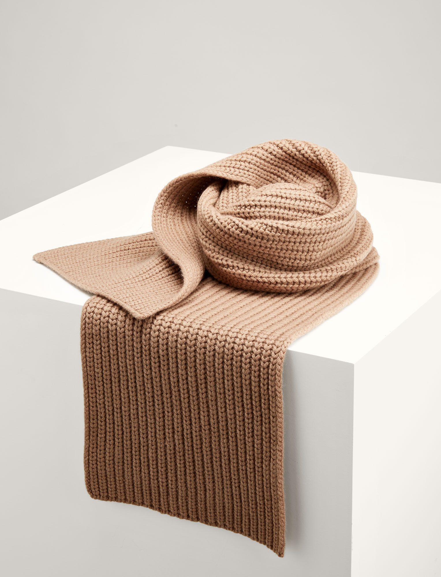 Joseph, Soft Wool Scarf, in CAMEL