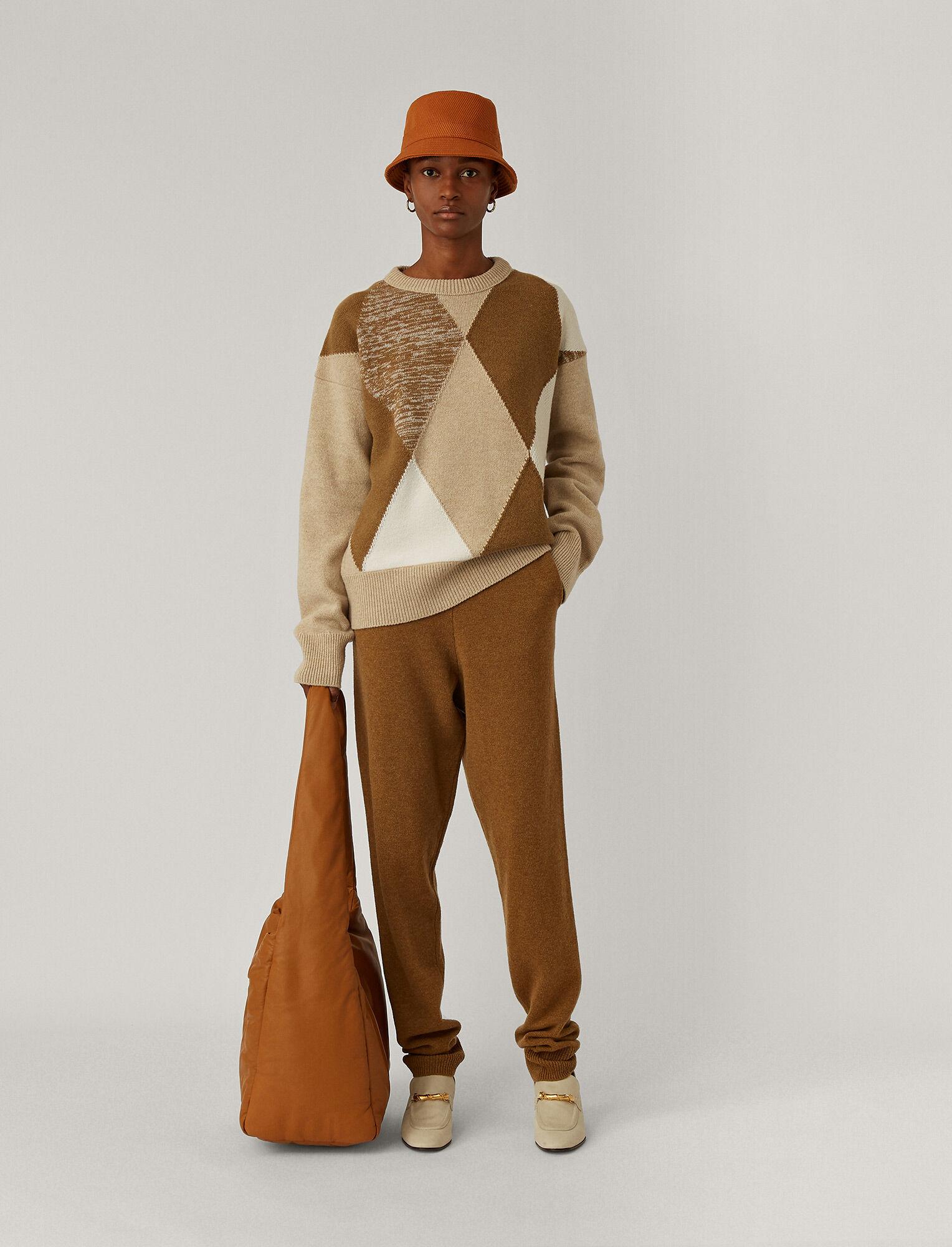 Joseph, Round Neck Diamond Knit, in Linen Combo