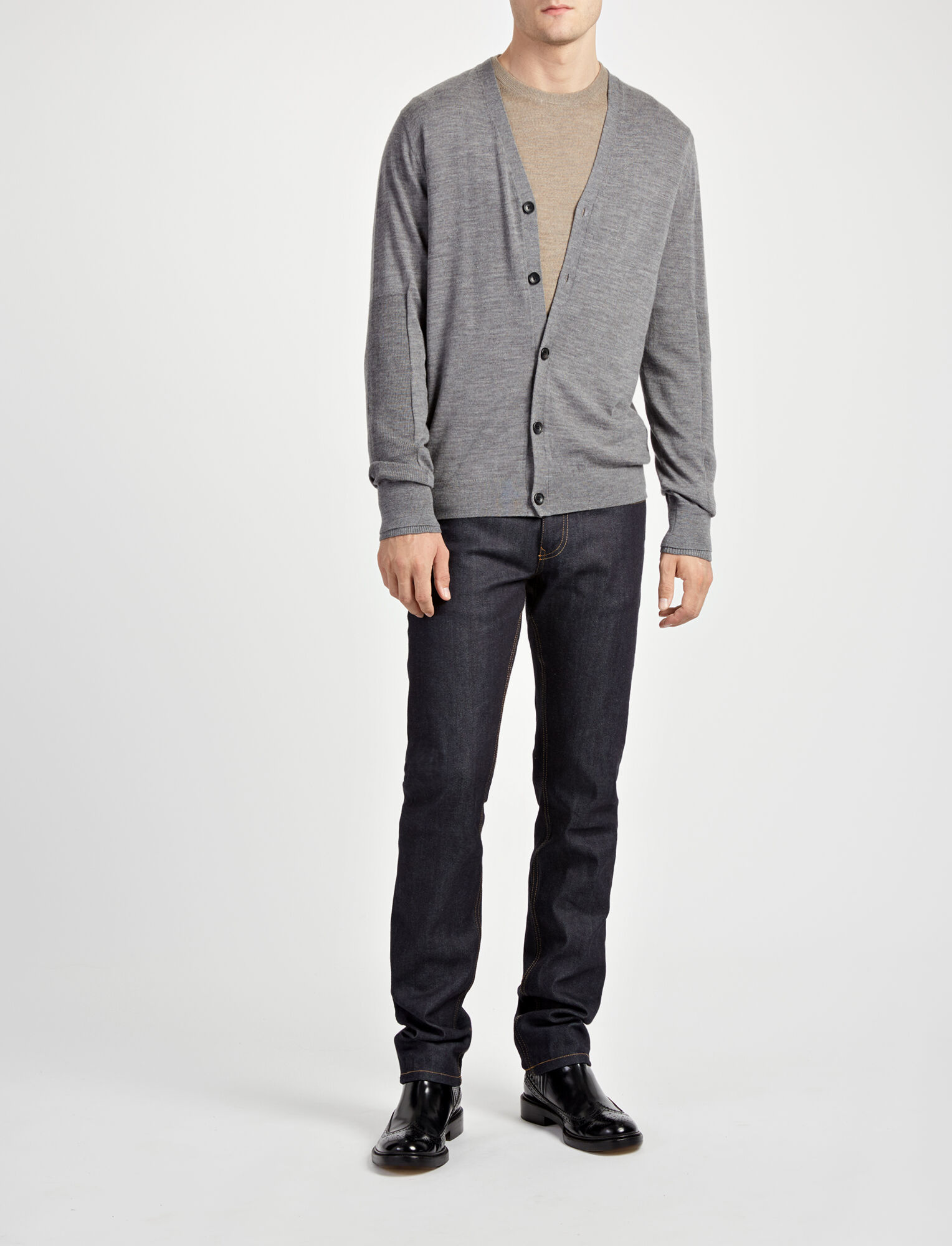 Joseph, Cardigan en laine mérinos côtelée et patch, in GRAPHITE