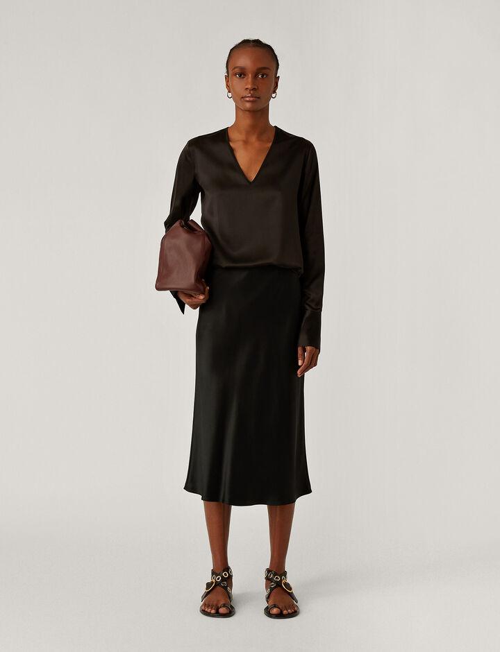 Joseph, Isaak Silk Satin Skirt, in