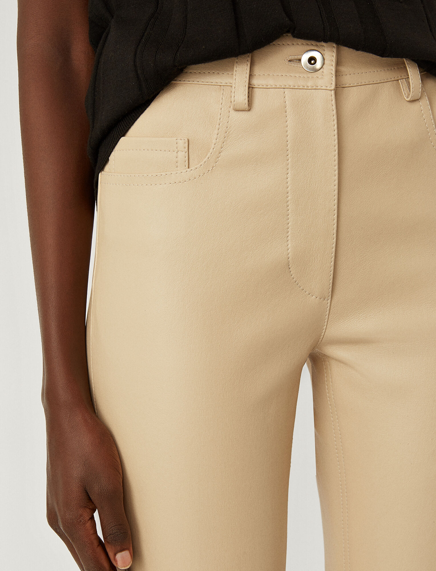 Joseph, Leather Stretch Teddy Trousers, in MASTIC