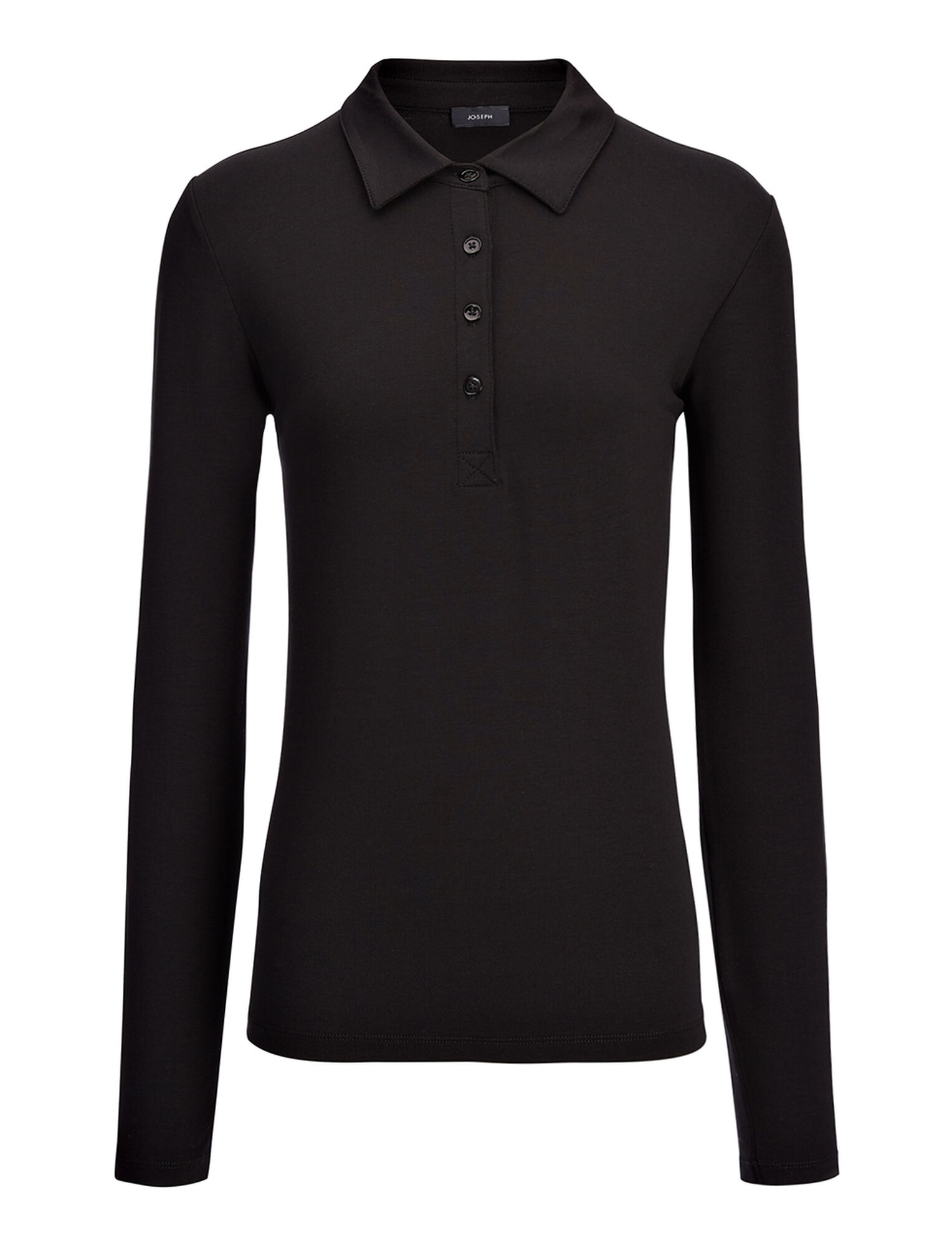 Joseph, Polo en coton et lyocell stretch, in BLACK