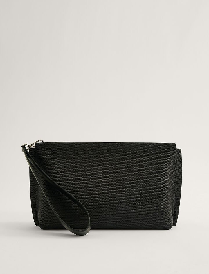 Joseph, CLUTCH-NATURAL FABRIC, in BLACK