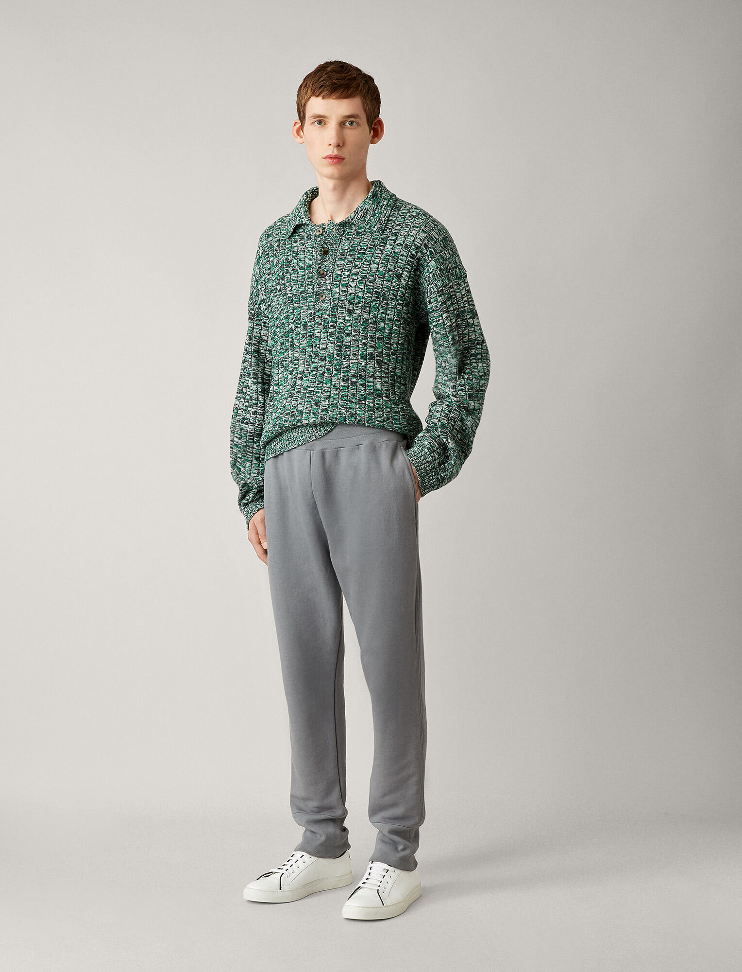 Joseph, Jogger Garment Dye Molleton Trousers, in STEEL