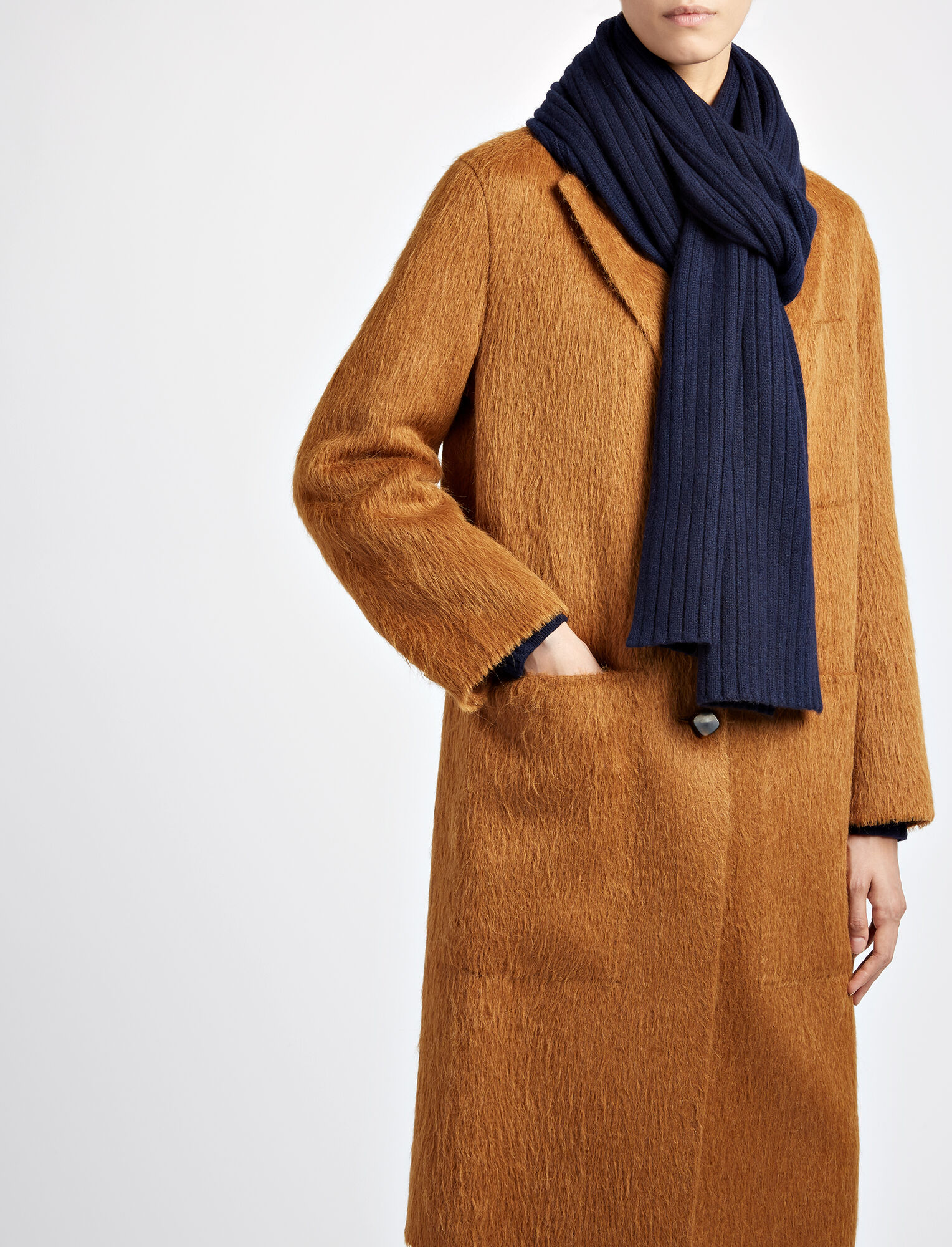 Joseph, Cashmere Luxe Rib Scarf, in NAVY
