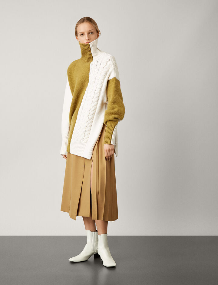 Joseph, Malvyn Wool Granite Skirt, in CAMEL