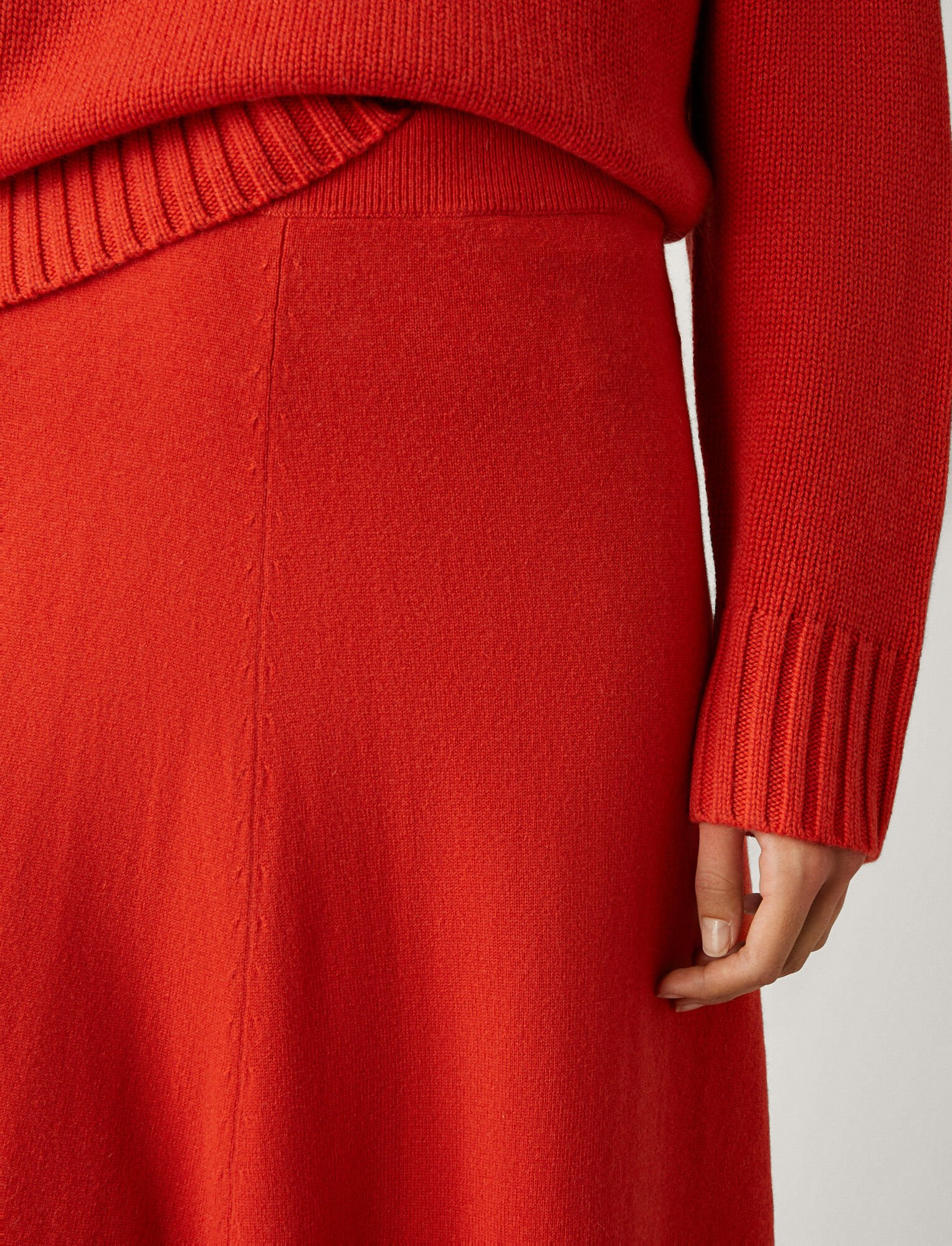 Joseph, Wool Cashmere Knit Skirt, in DARK ORANGE