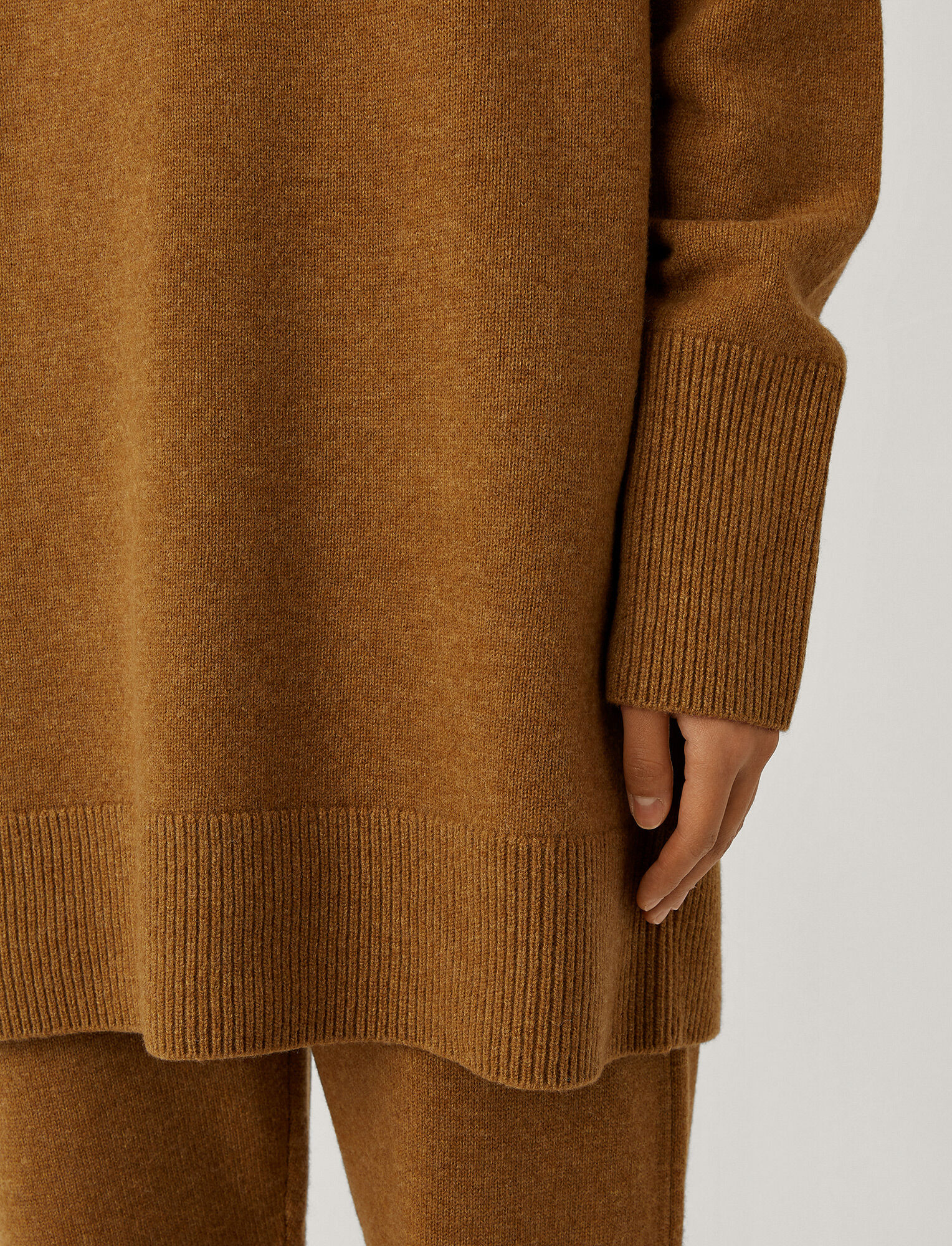 Joseph, Roll Neck O'Size Knit, in Cumin