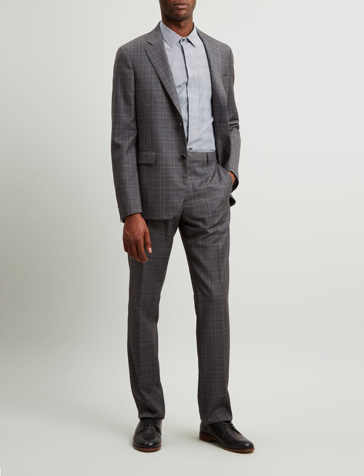 Joseph, Ernest Subtle Check Suiting Trousers, in CHARCOAL