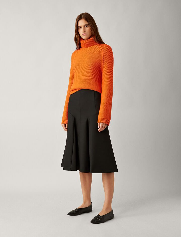 Joseph, Gaby Wool Pleat Skirt, in BLACK