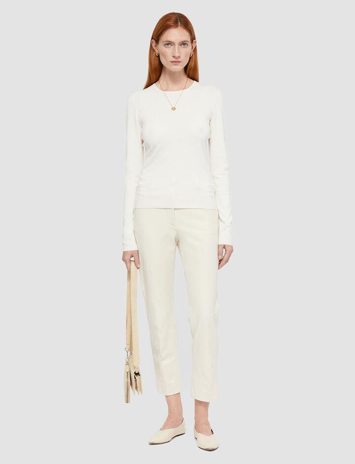 Joseph, Rd Nk Ls Silk Stretch Knitwear, in Ivory